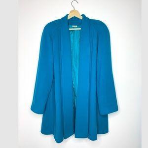 Vintage teal Wool Swing Coat Size 10